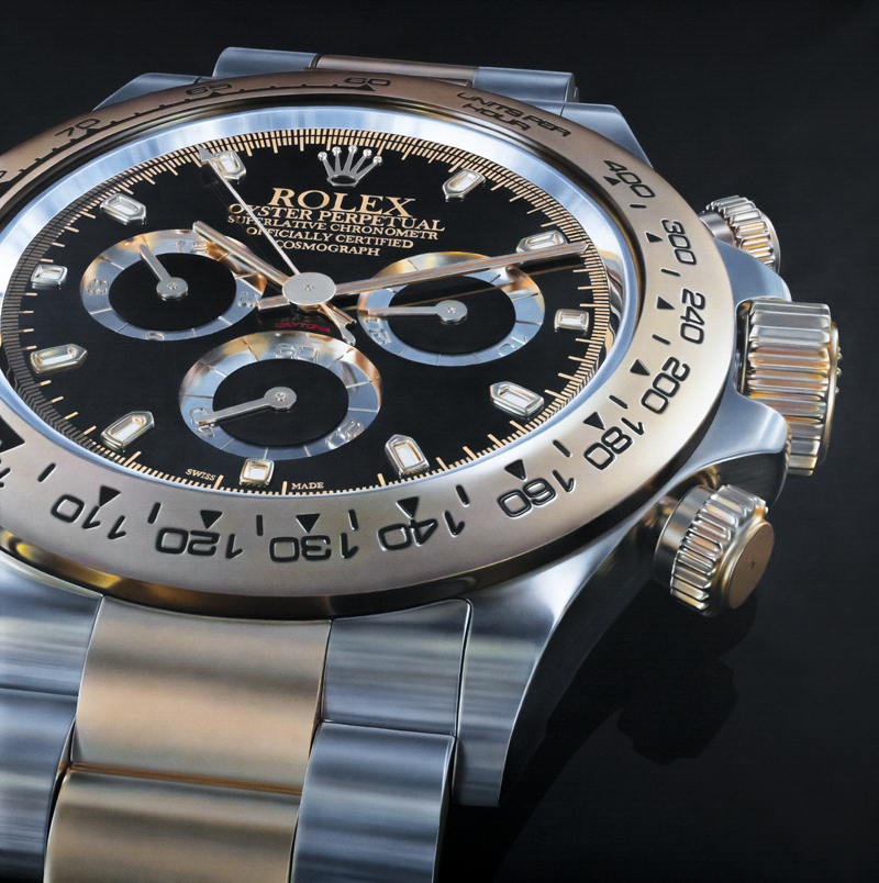 Photorealistic oil painting of Rolex Daytona