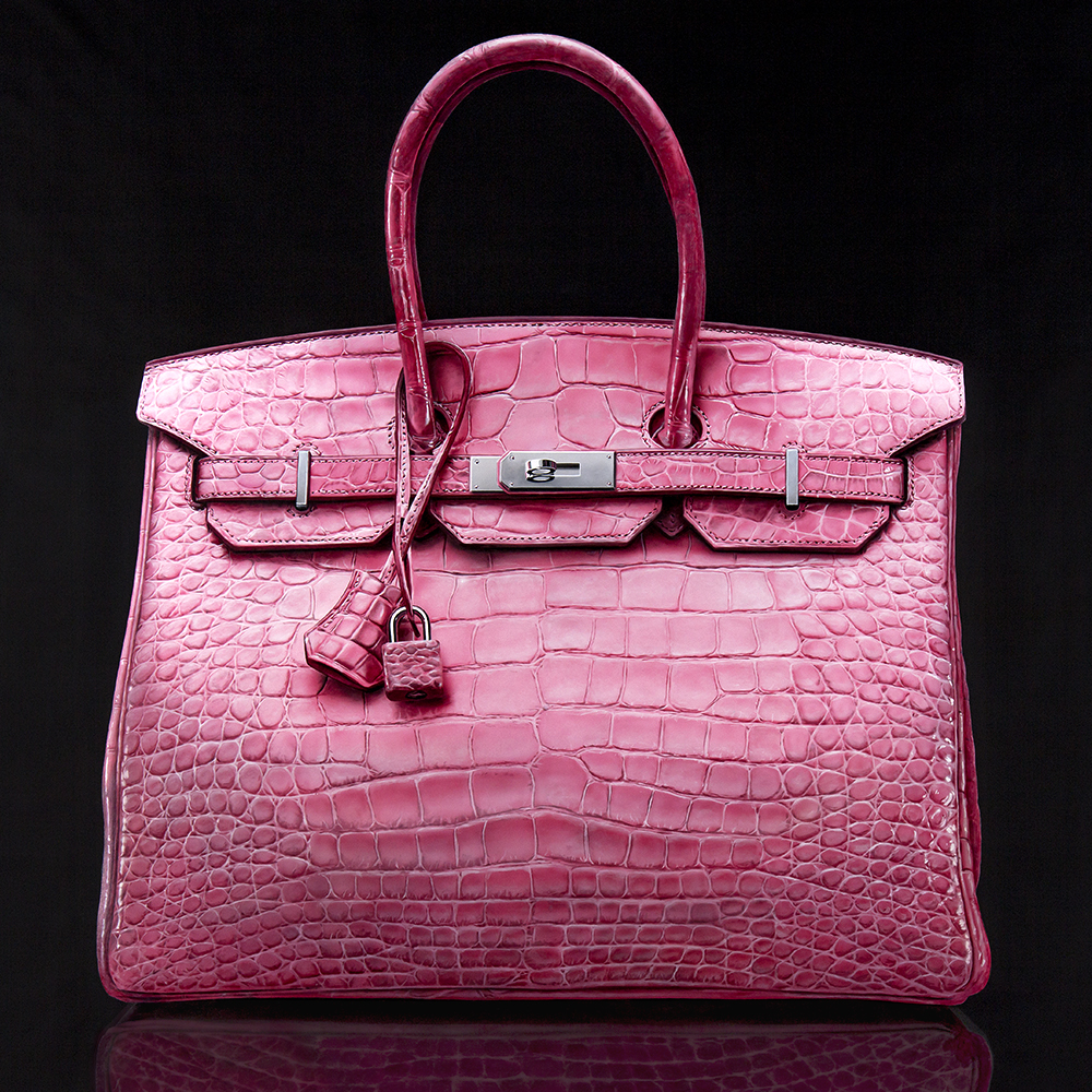 Extreamely realistic airbrush oil acrylic painting of expensive Hermès Birkin Crocodile handbag