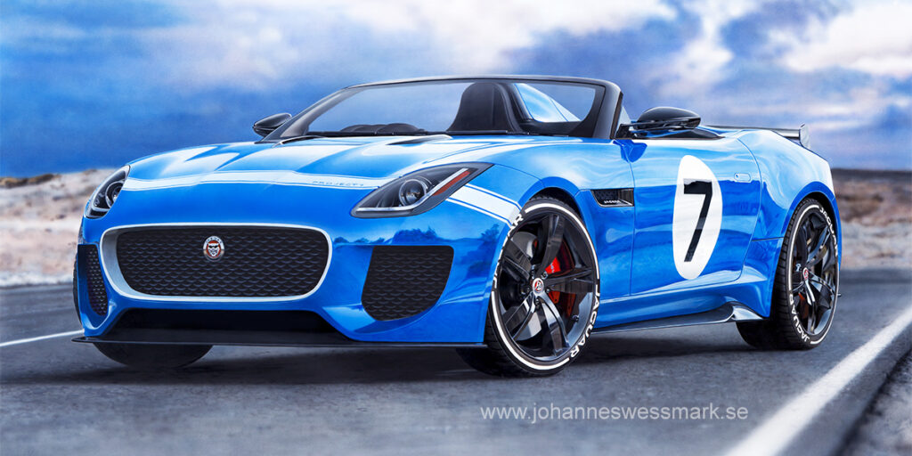 Photorealistic Jaguar F-Type Project 7 painting racer car supercar